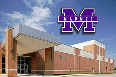 Photo of school and Maumee logo